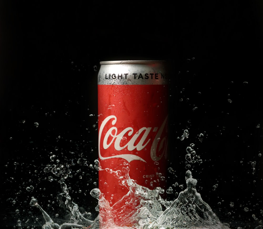 coca cola can on water