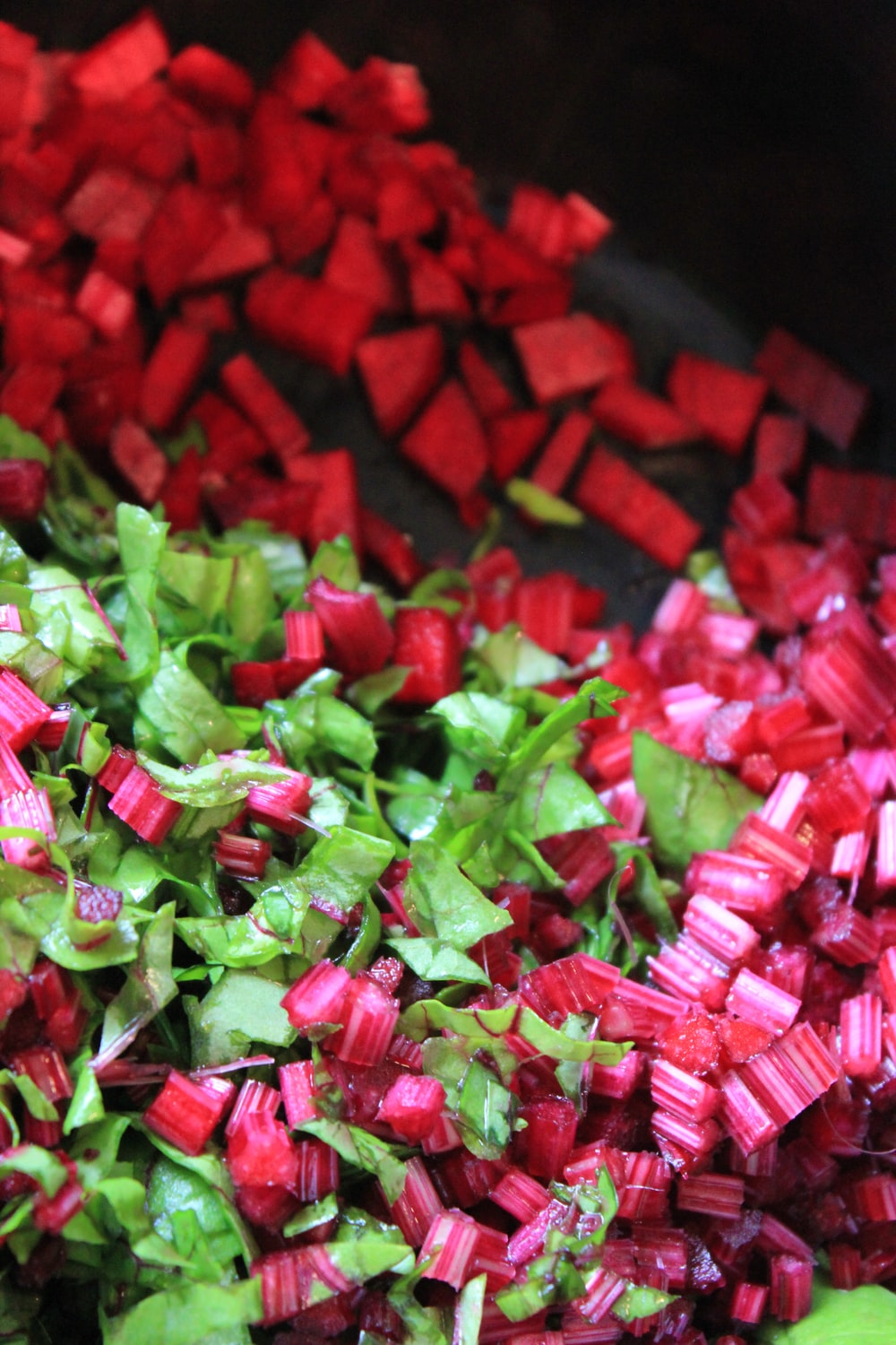 green and red vegetable leaves