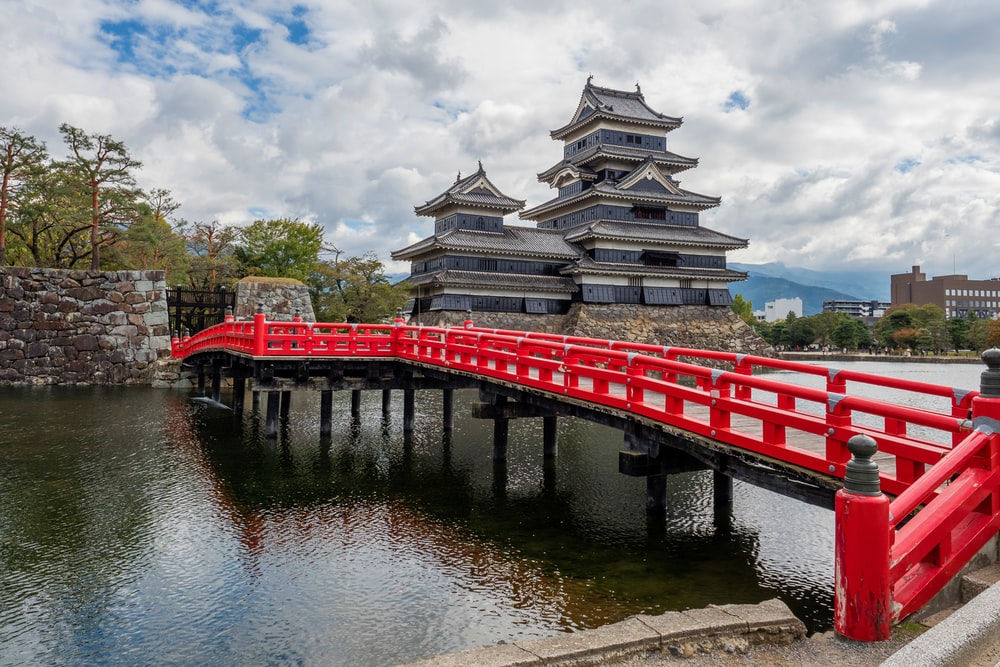 red and white wooden bridge over river