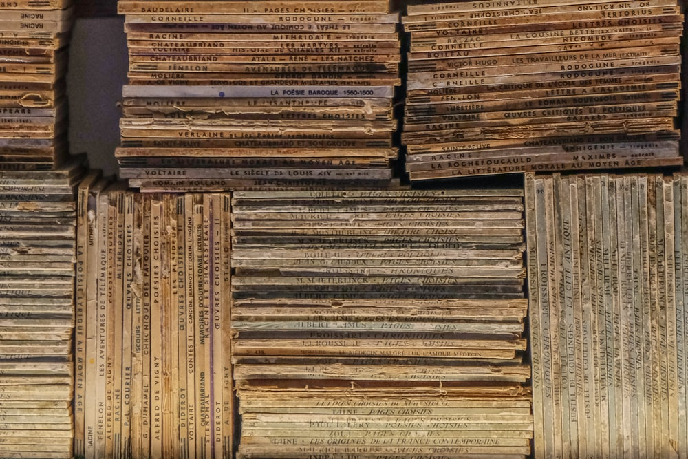 brown and black books on brown wooden shelf