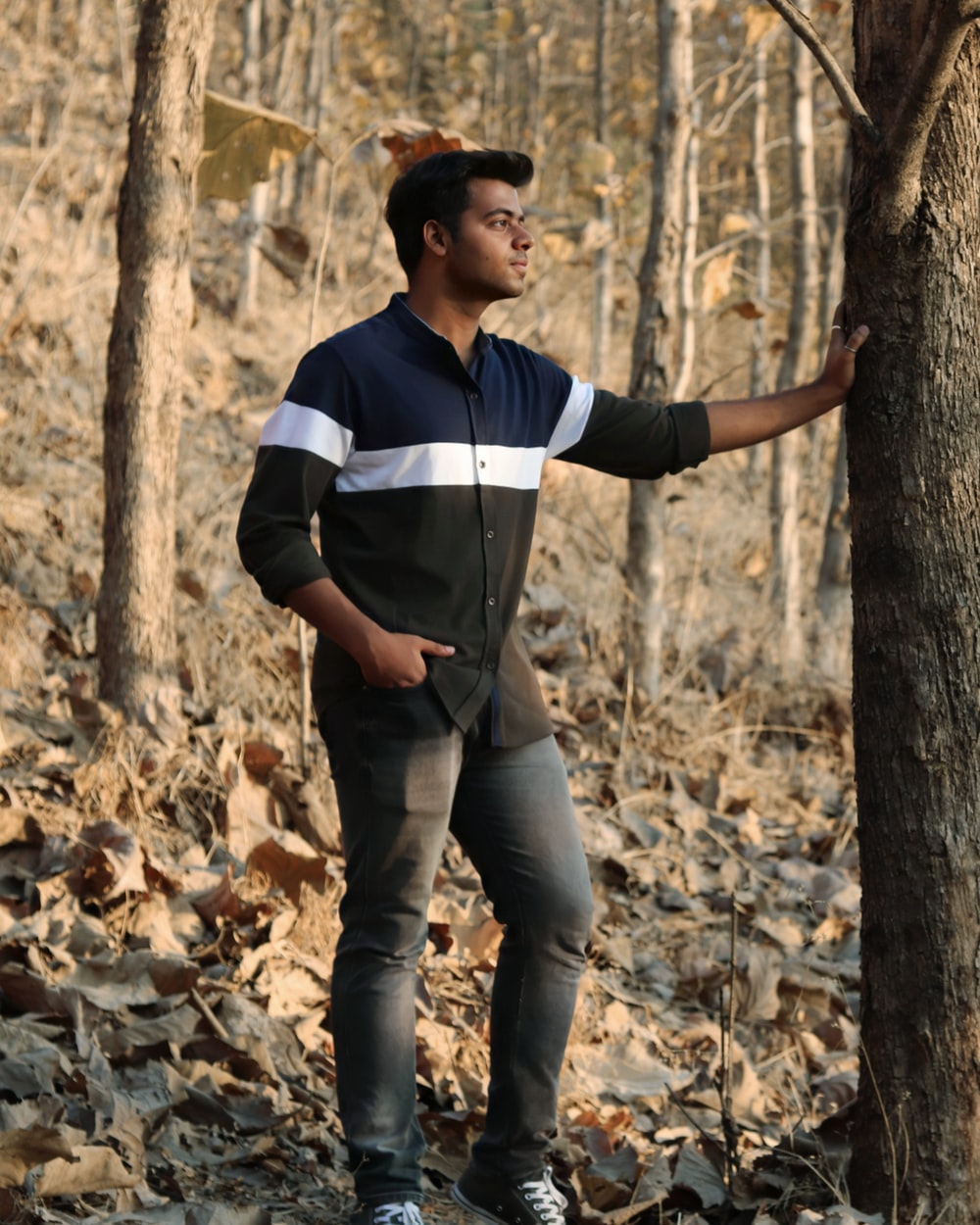 man in blue and white striped polo shirt and gray denim jeans standing on brown tree