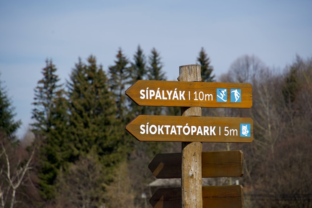 brown wooden signage near green trees during daytime