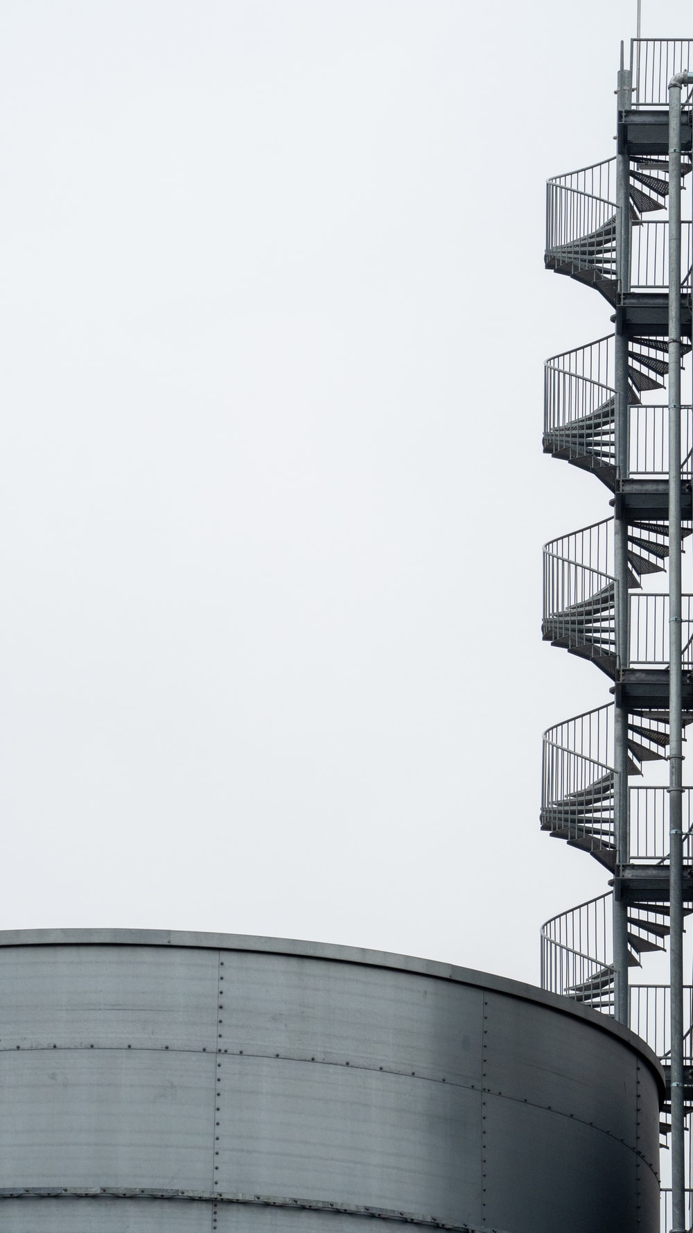 white spiral stairs with white background