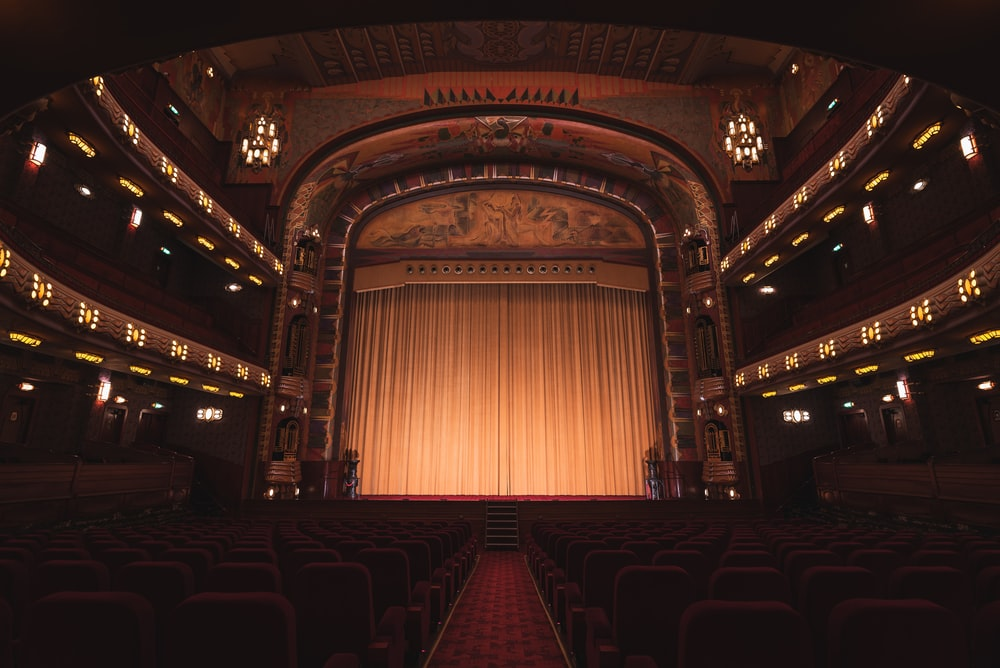 brown wooden chairs inside theater