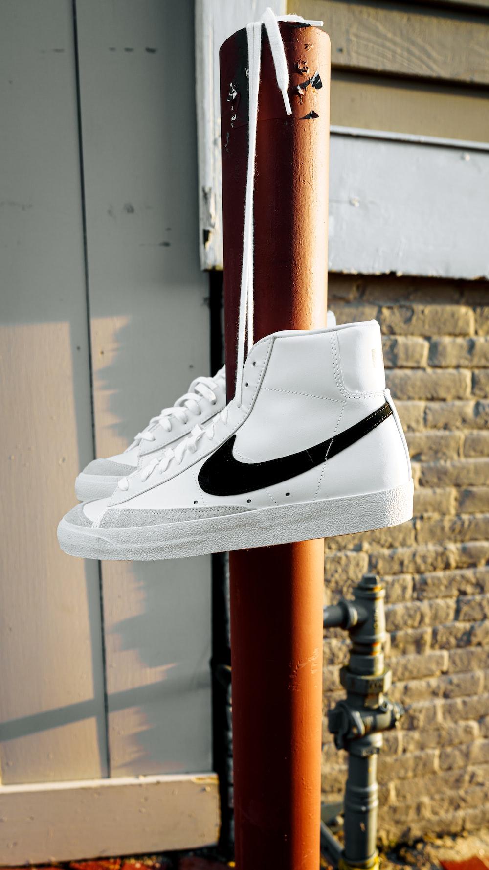 white and black nike sneaker