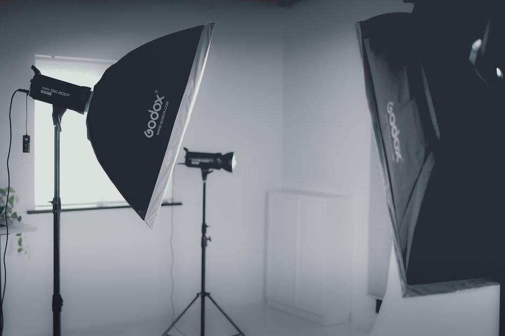 black and white camera tripod