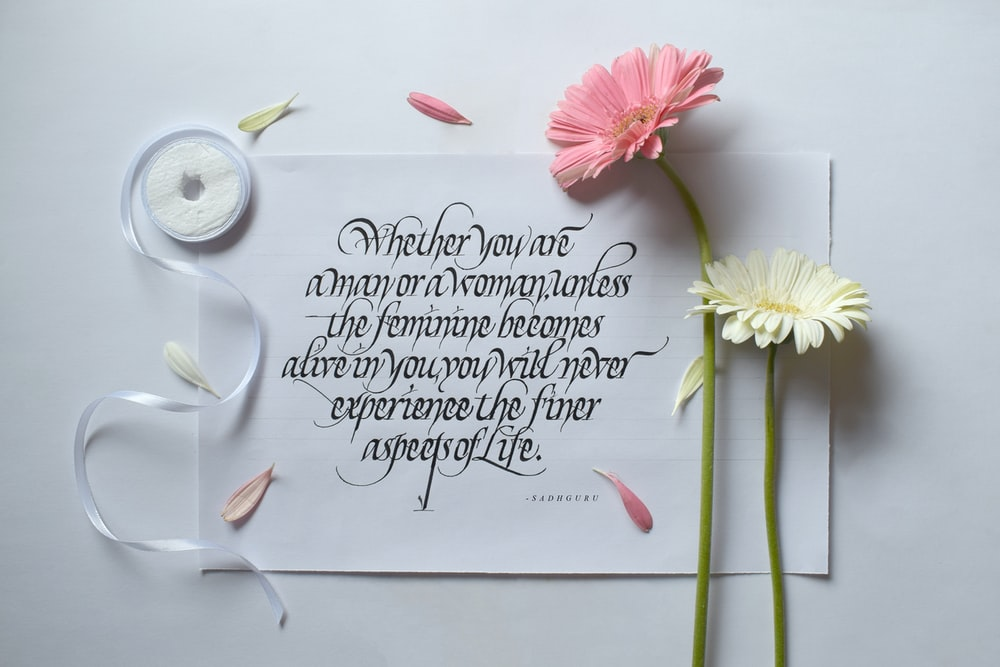 pink and white flower with quote
