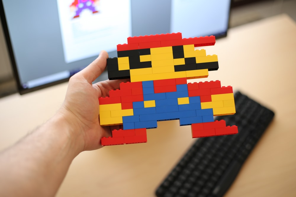yellow red and blue puzzle piece