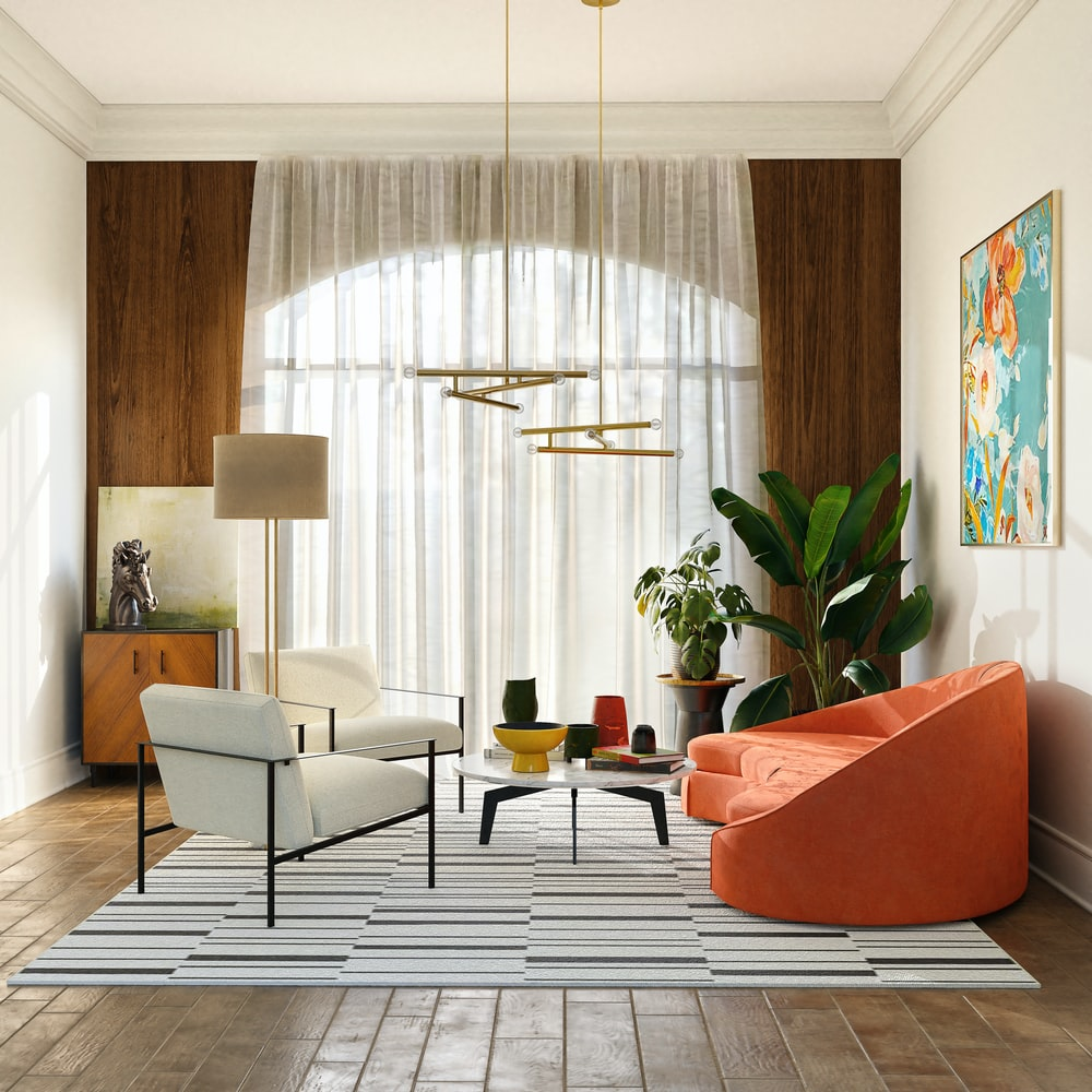 living room with white curtains