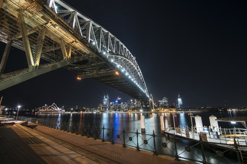 white and blue bridge during night time