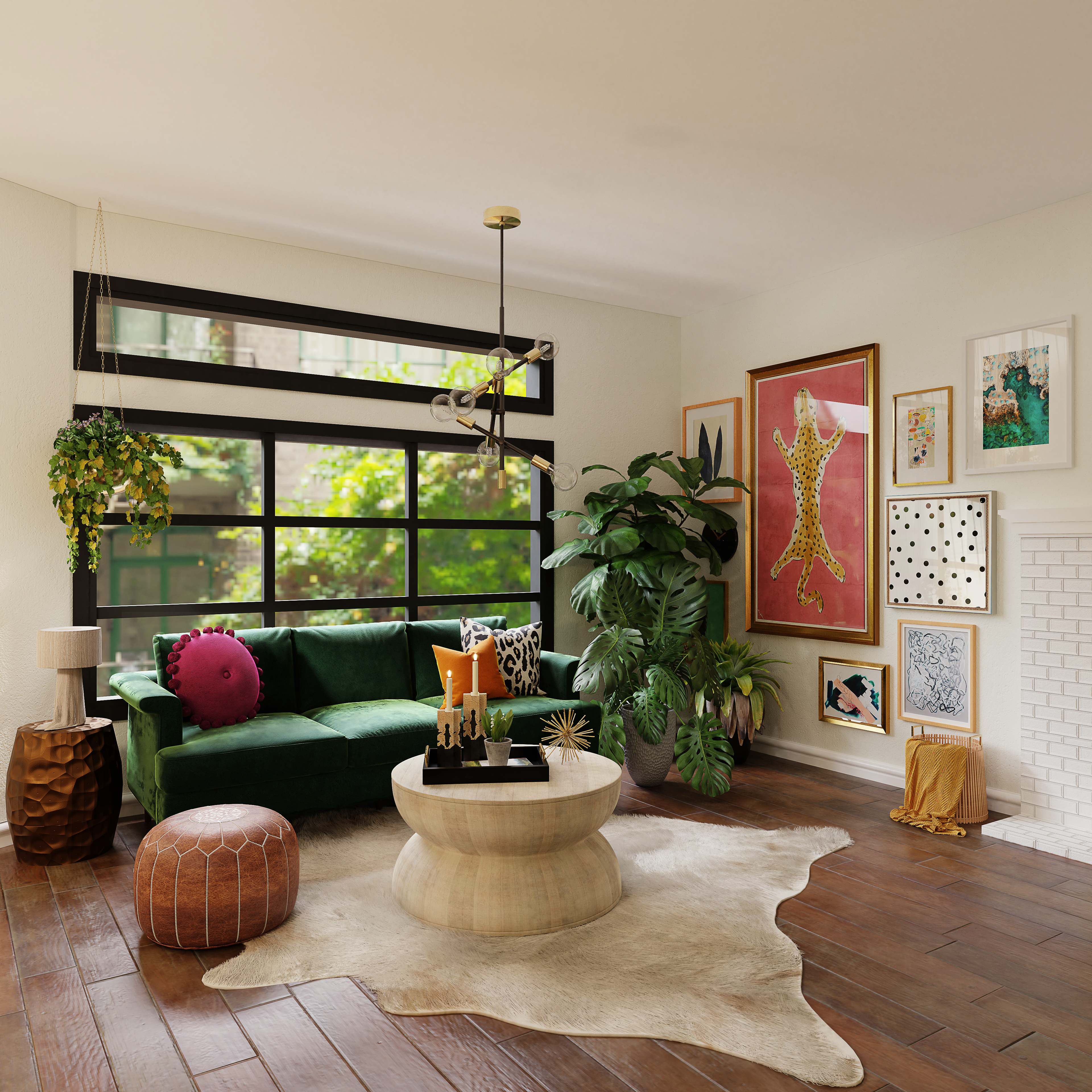 living room with green plants and brown wooden floor