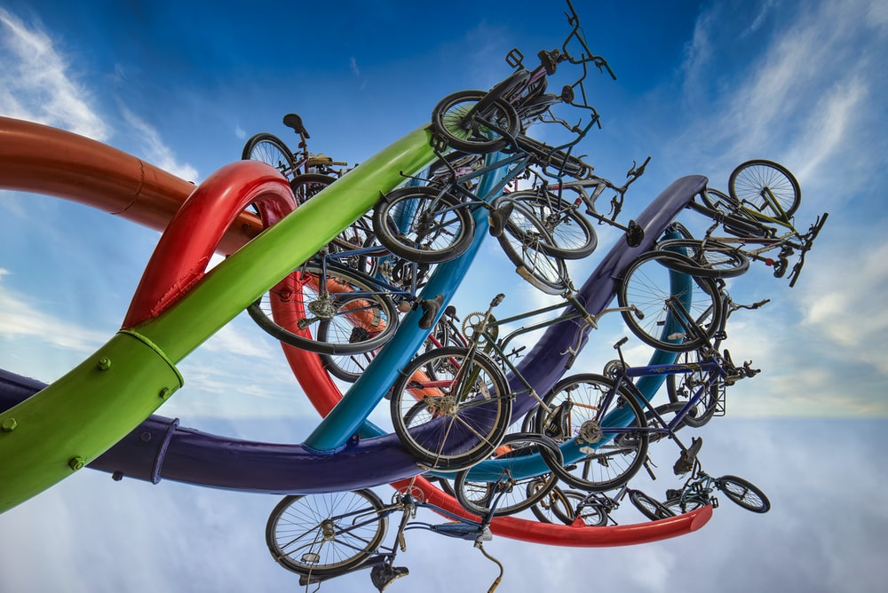 blue and red bicycle wheel