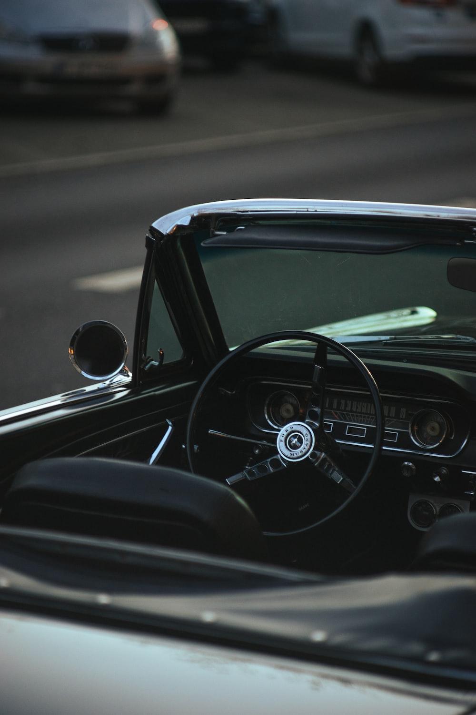 black and silver convertible car