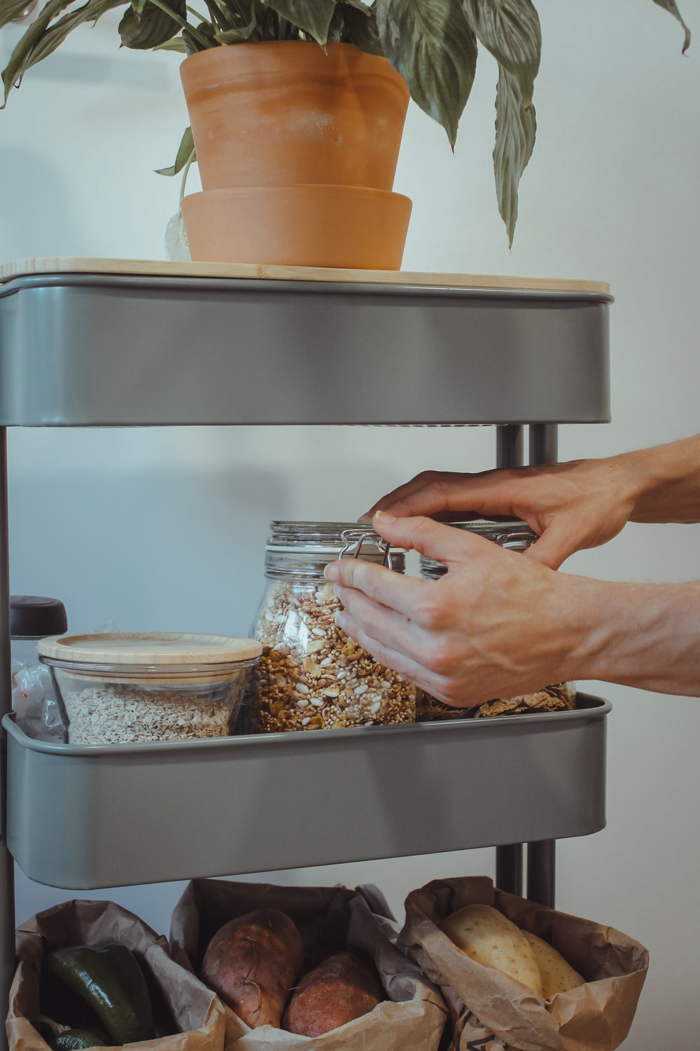 person holding stainless steel container