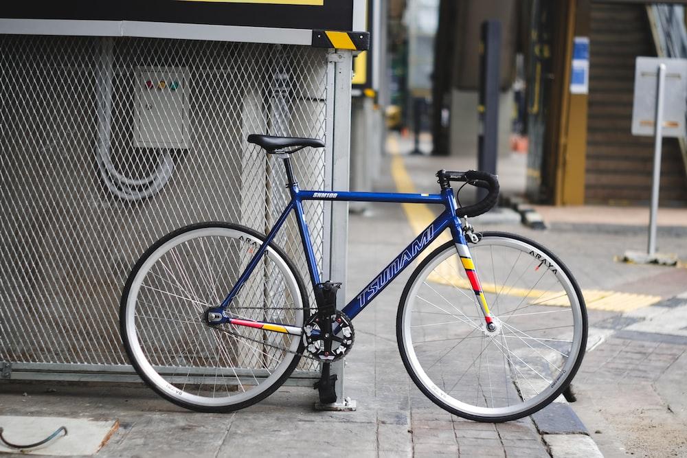 black and orange road bike