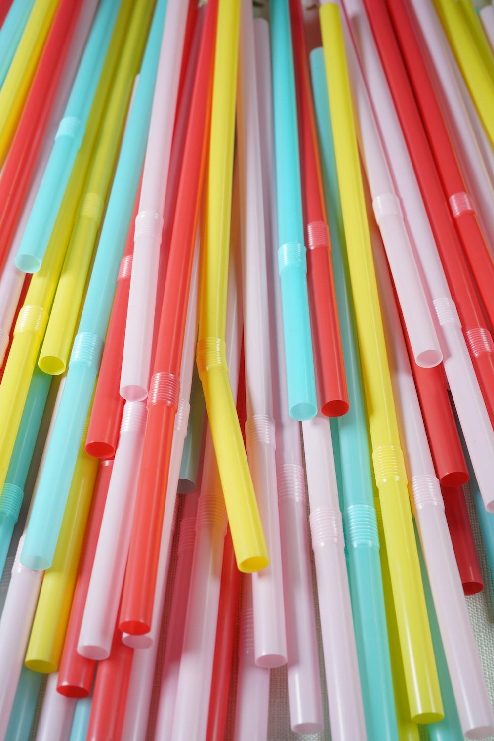 pink orange and green straw lot