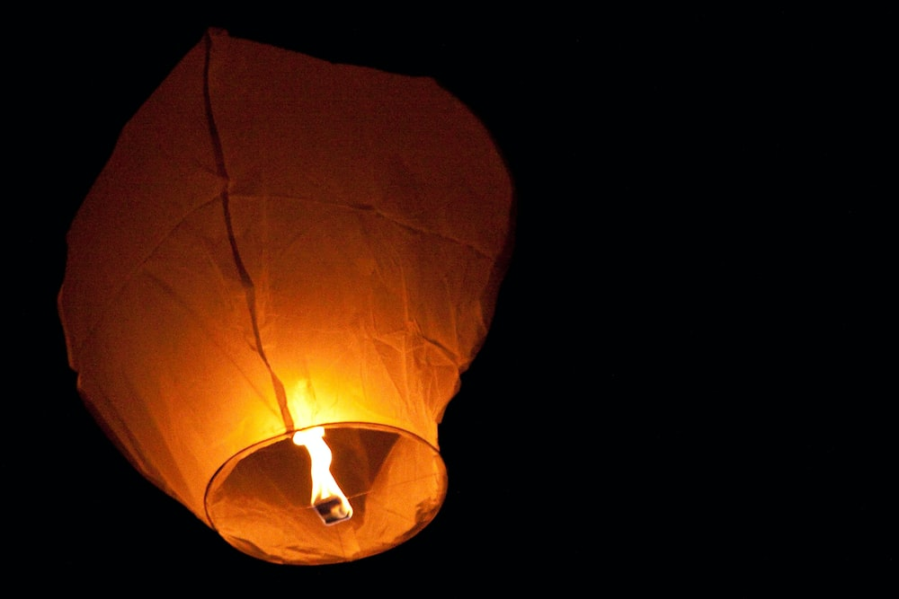 brown paper lantern with light