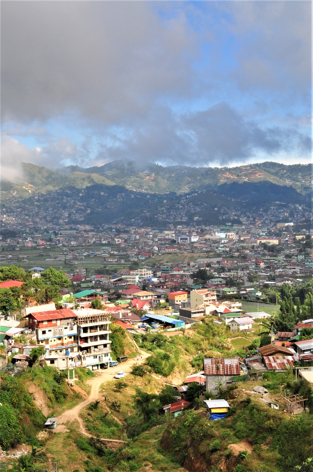 aerial view of city near mountain during daytime