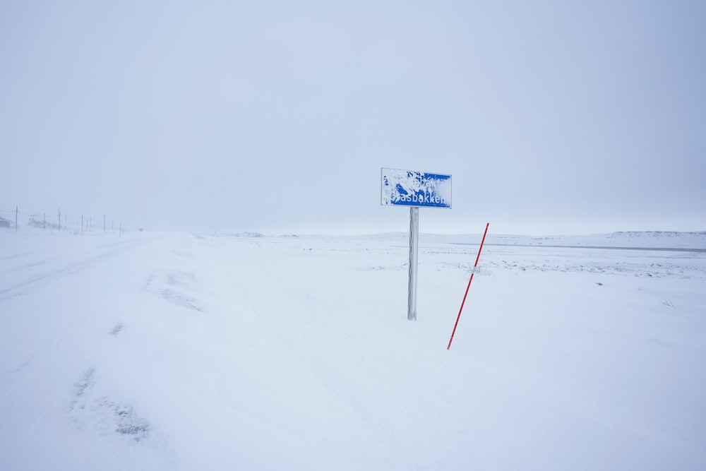 blue and white road sign on snow covered ground