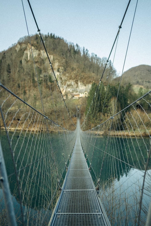 green and white bridge over the river