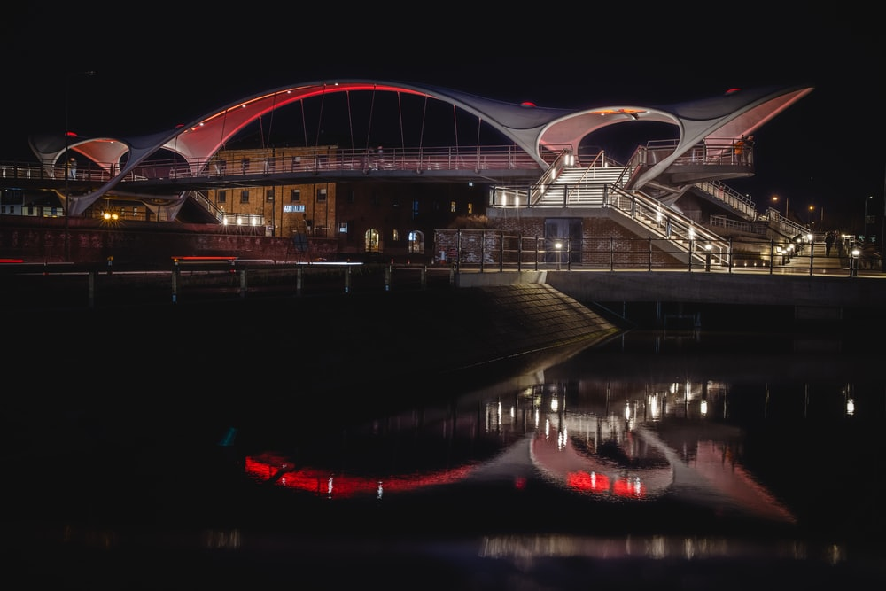 white and brown bridge during night time