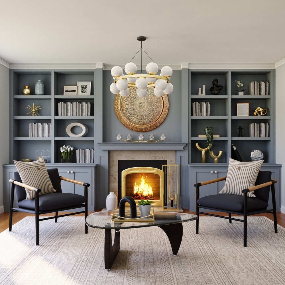 black fireplace in living room