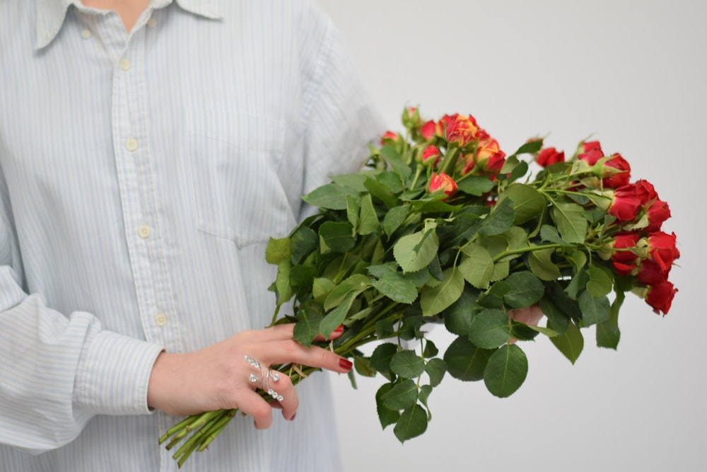 person holding red rose bouquet