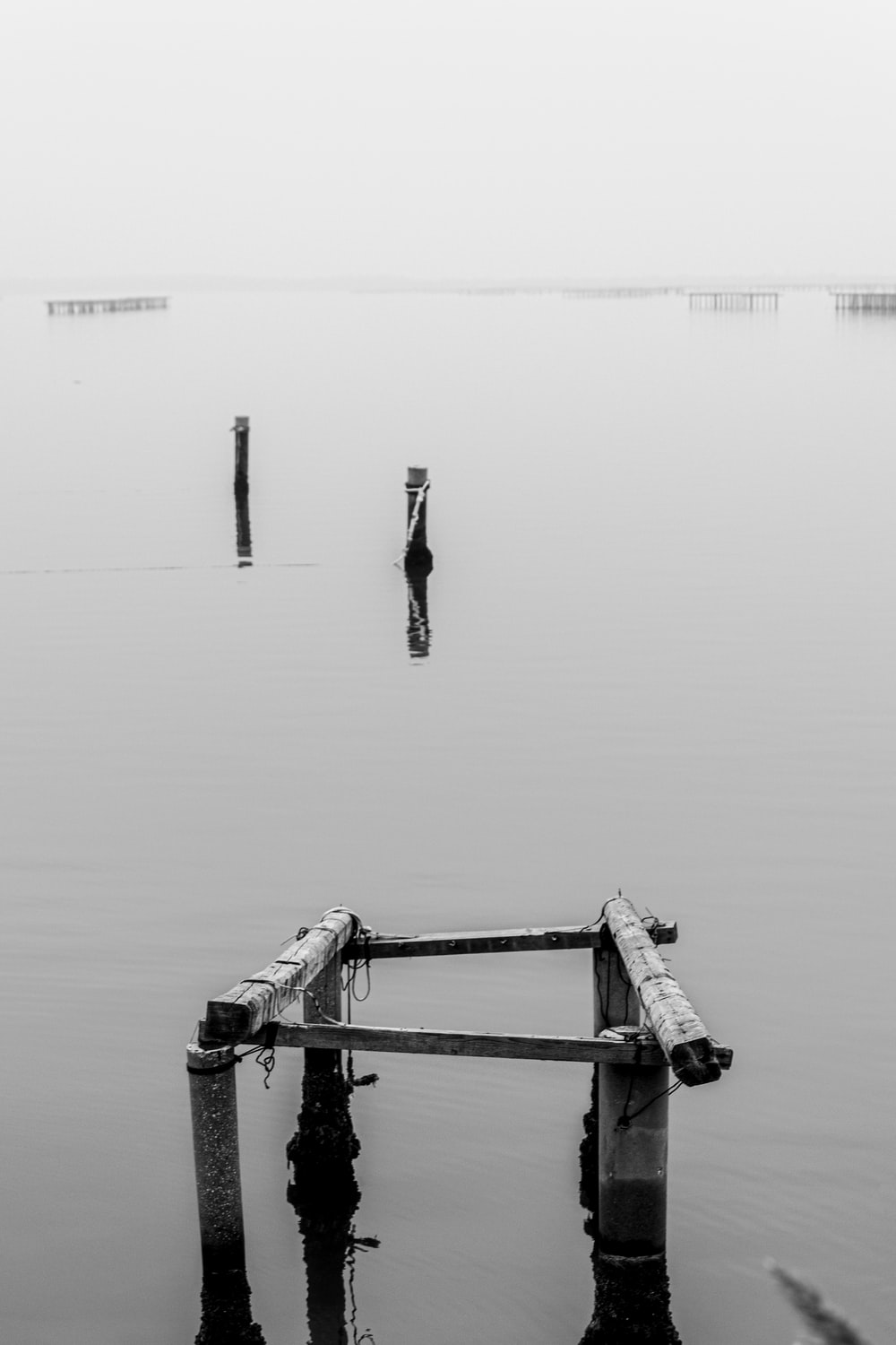grayscale photo of a man walking on a wooden dock