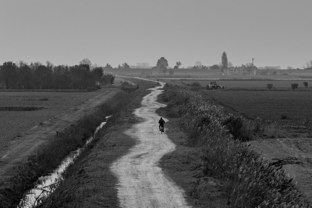 grayscale photo of person walking on dirt road