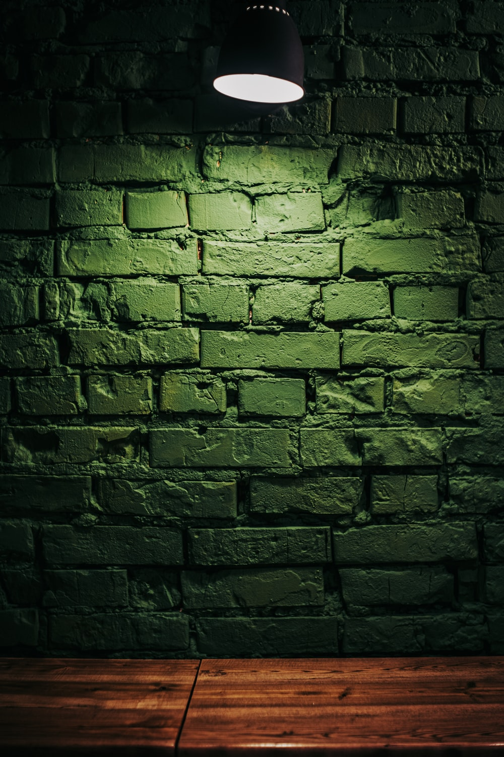 brown brick wall with light