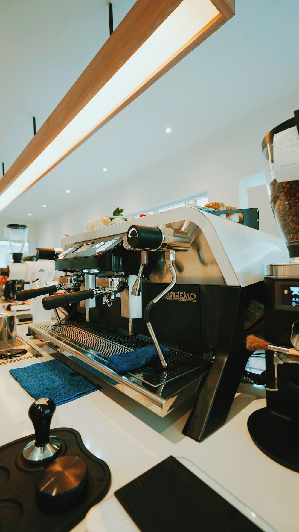 gray and black espresso machine