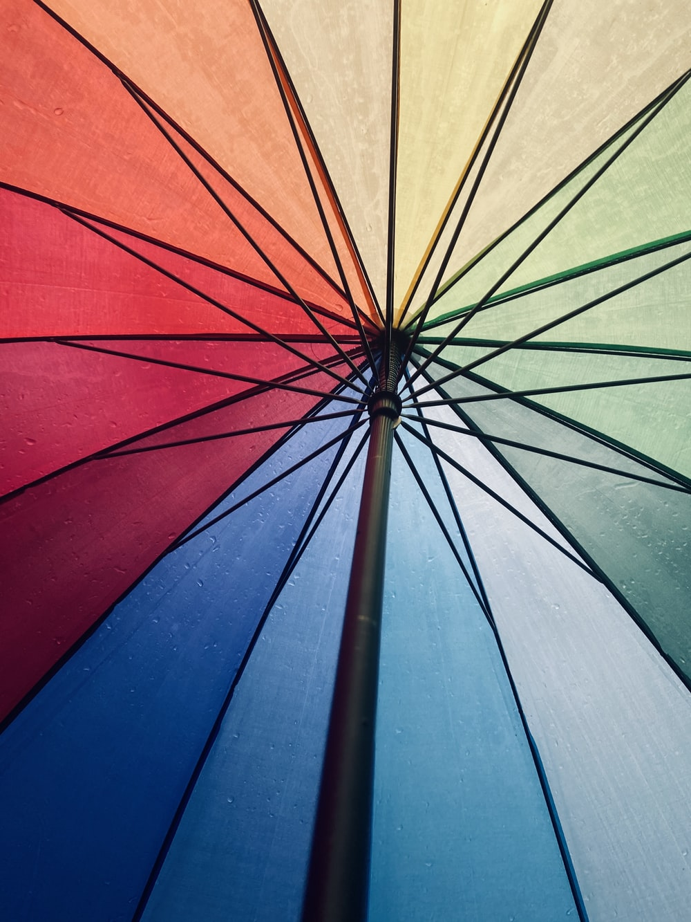 blue red and green umbrella
