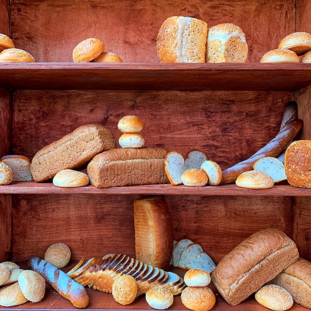 brown bread on brown wooden shelf