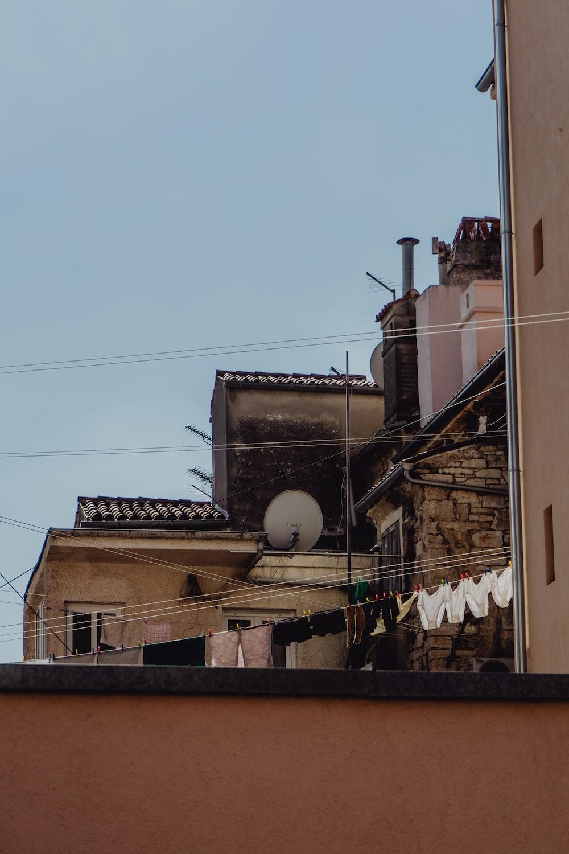 white satellite dish on roof