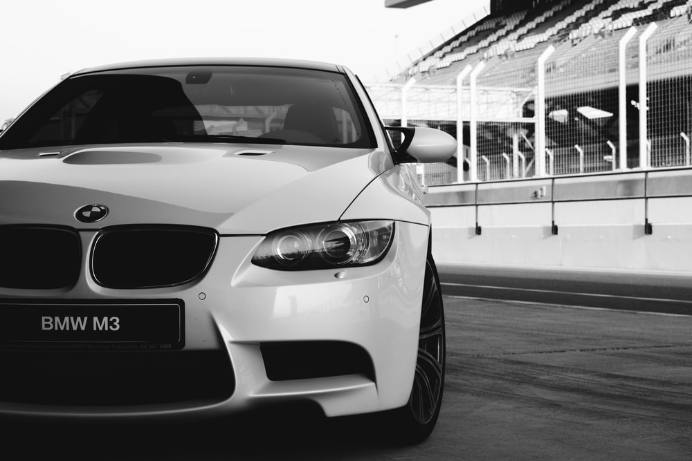 grayscale photo of bmw m 3