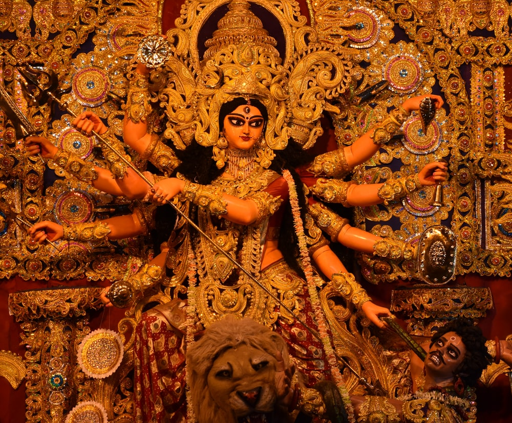 hindu deity with gold crown