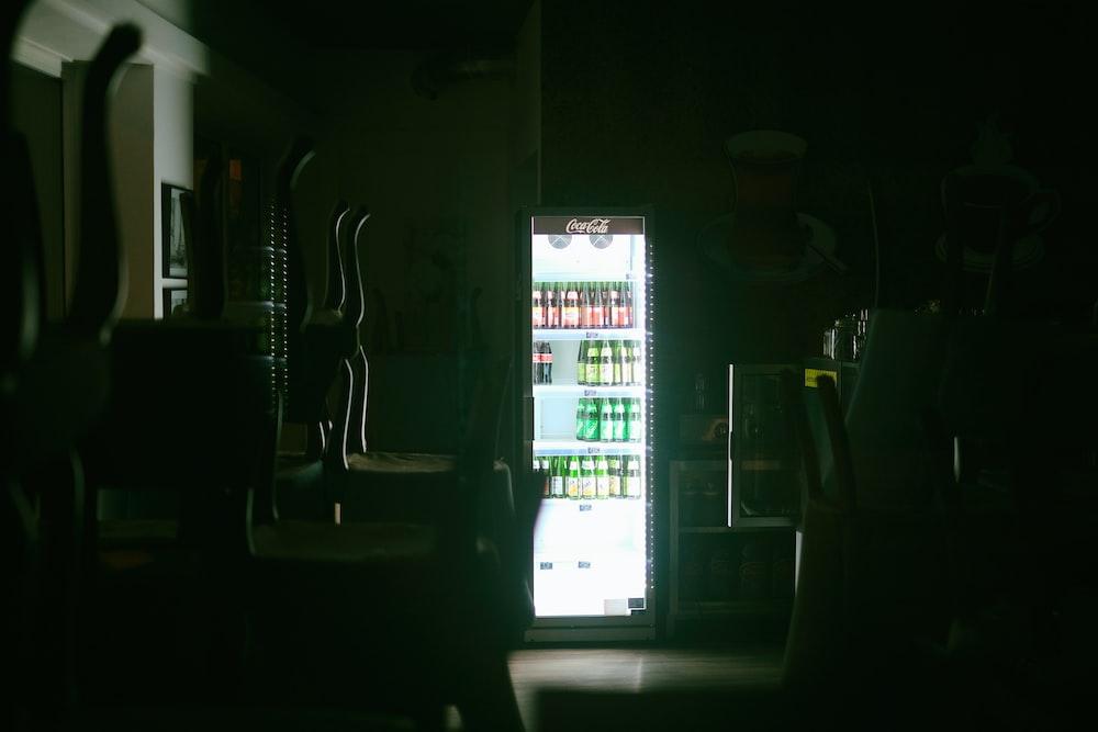 white and black vending machine