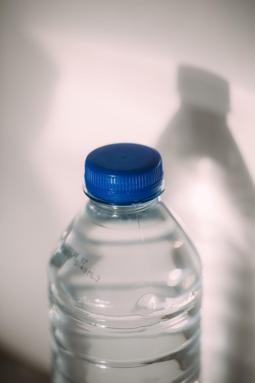 blue lid clear plastic bottle