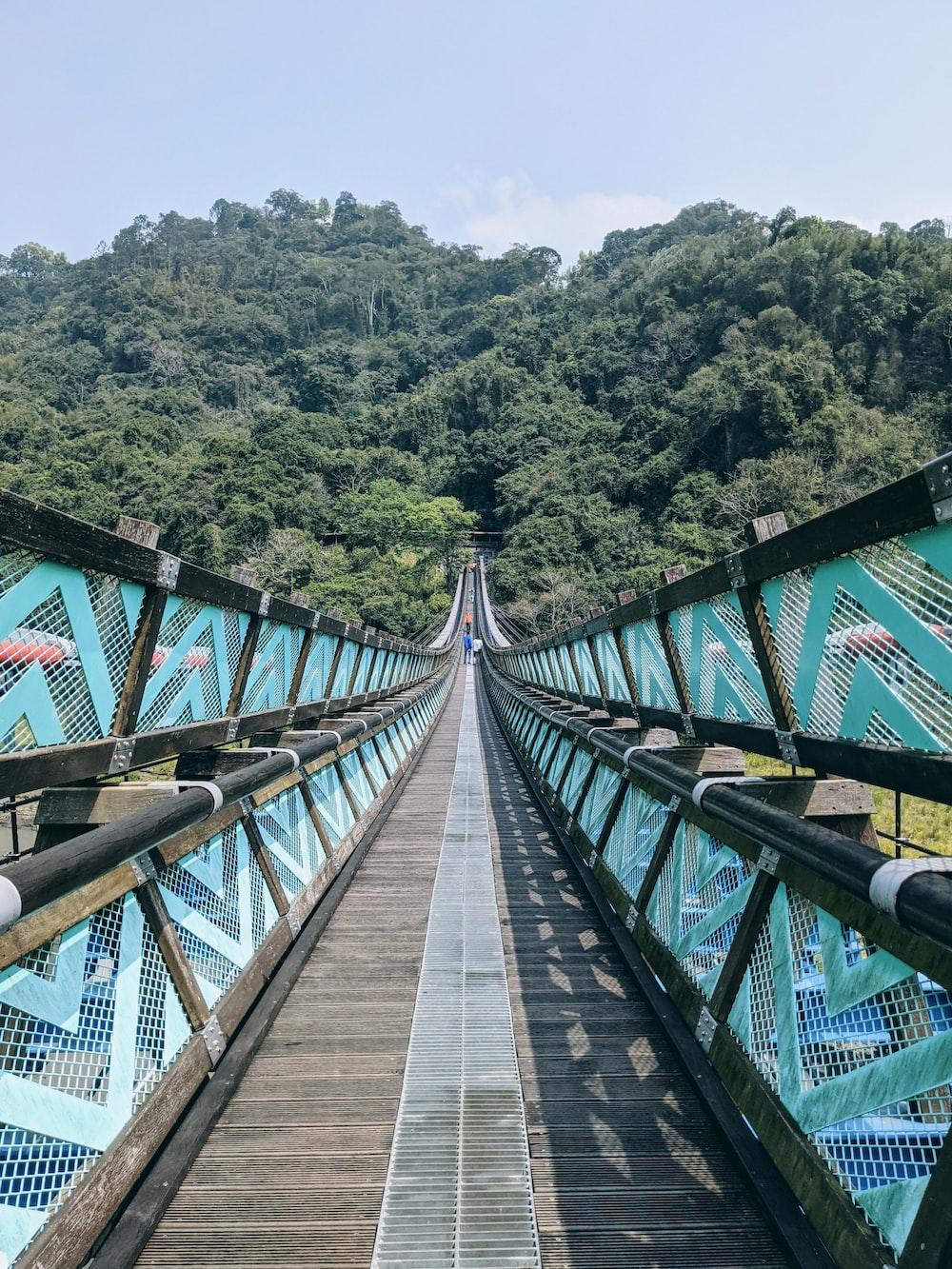 brown wooden bridge over river