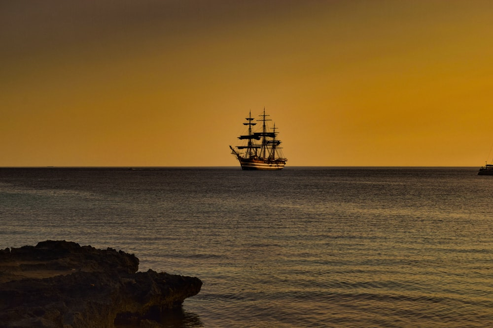 ship on sea during sunset