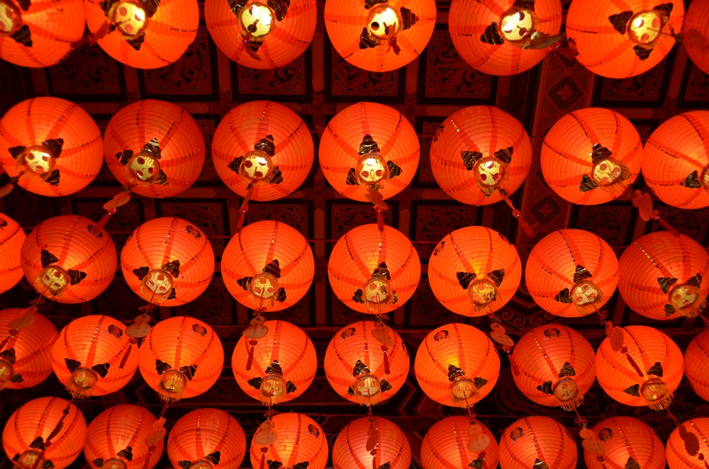 red paper lanterns on the street