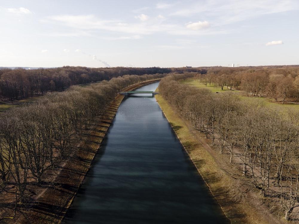river between green grass field during daytime