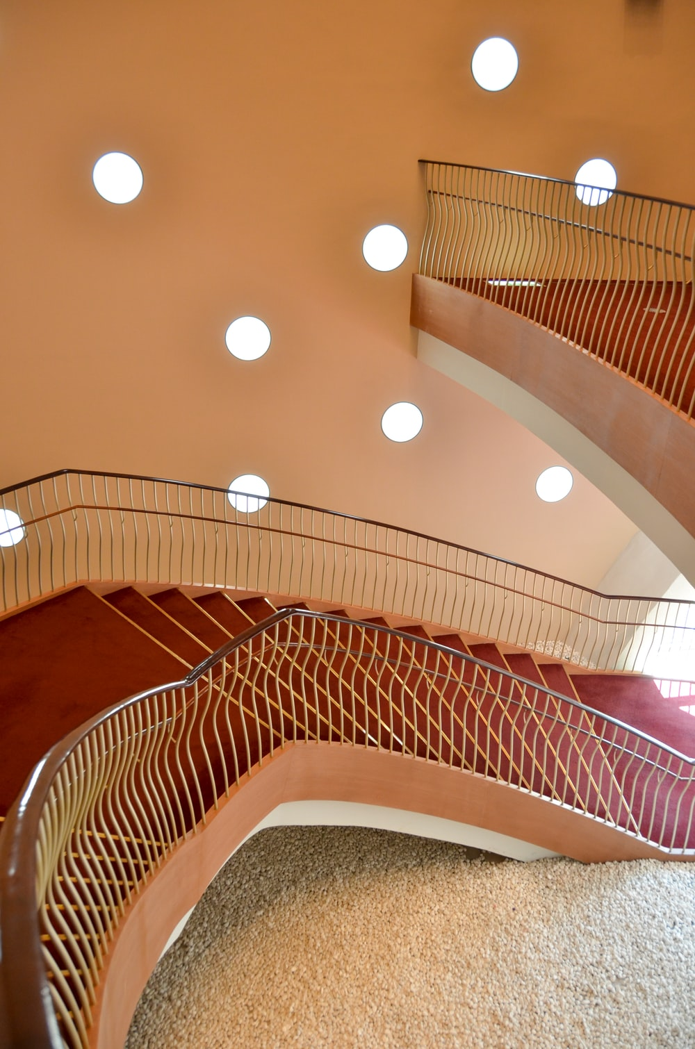 brown and white spiral staircase