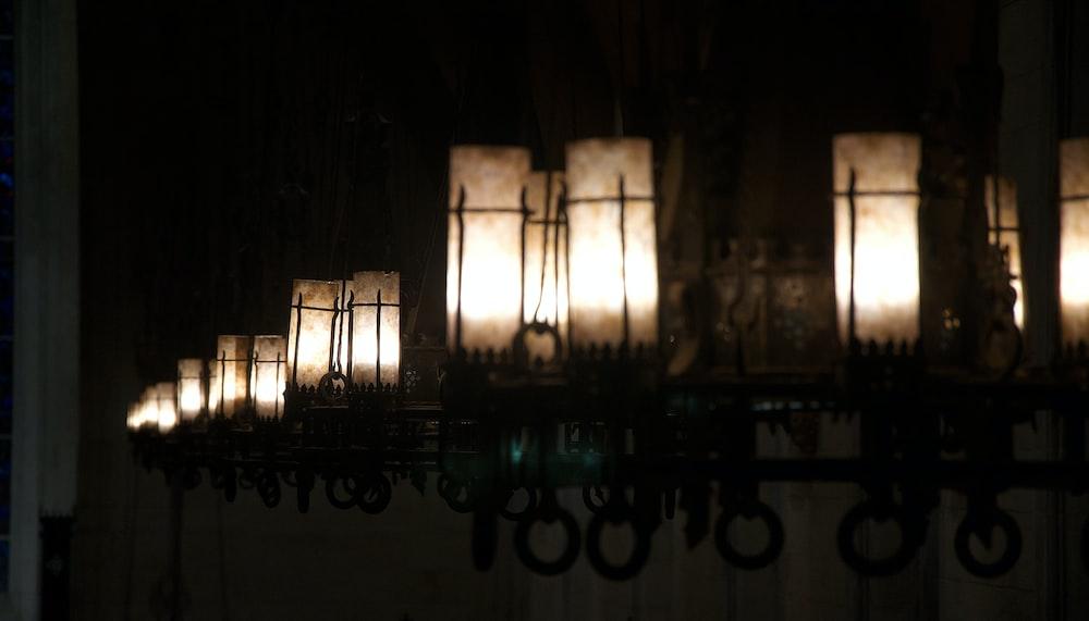 black metal framed glass lamp