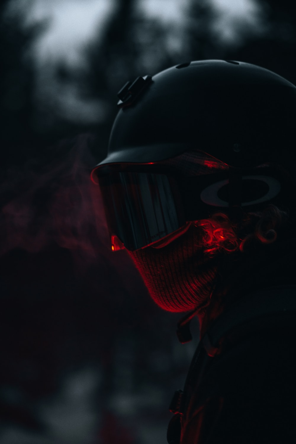 red and black mask with black and red mask