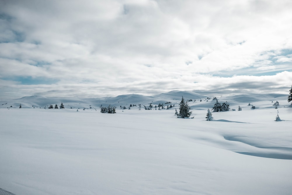 snow covered field under cloudy sky during daytime