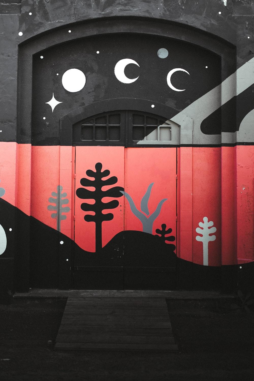 red and black wooden door