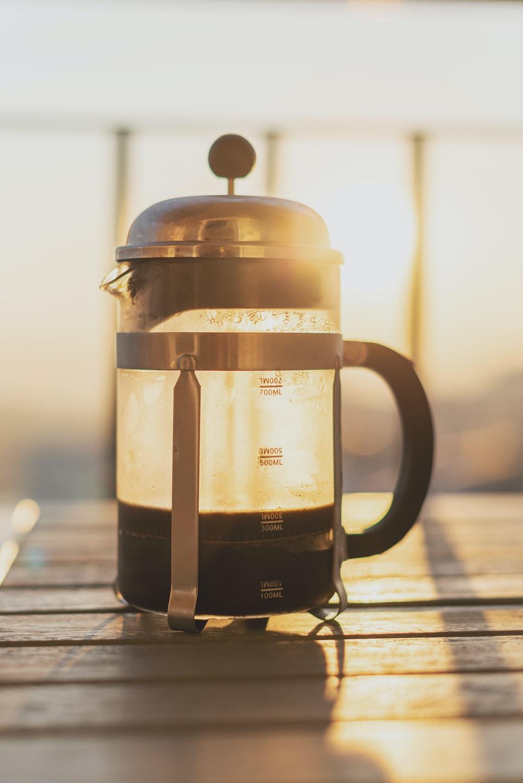 white and black coffee press
