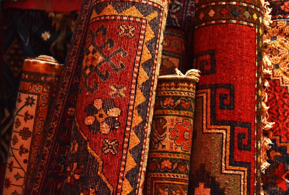 red white and black tribal textile