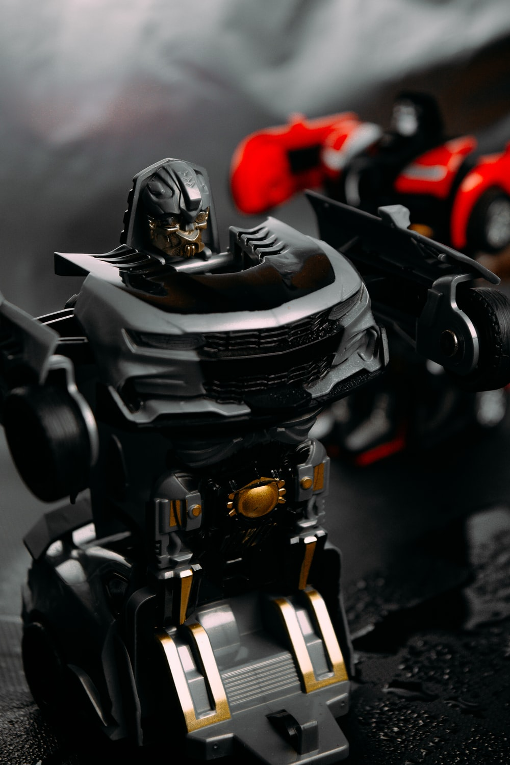 black and gray robot toy